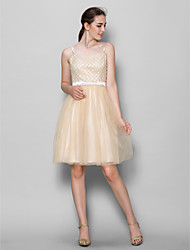 Knee-length Tulle Bridesmaid Dress A-line Straps with Beading