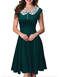 Women's Lace Round Collar Solid Color Plus Size Big Swing Hem Sleeveless Dress