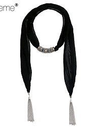 Lureme® Fashion Bohemia Style Solid Color Print Scarf with BeadsTassels Pendant Necklace