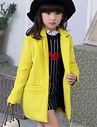 Girl's Solid Jacket & Coat,Cotton Blend Winter / Spring / Fall Red / Yellow