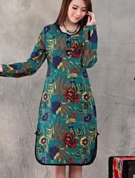 De las mujeres Vestido Casual Estampado Midi Escote Redondo Algodón / Lino
