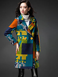 Yimei Woman'S Classic Letters Long Wool Coat