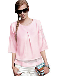 Women's Solid Pink Blouse , Round Neck ¾ Sleeve