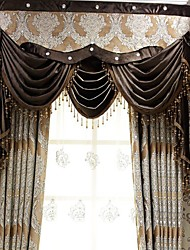 (Two Panel)Traditional Chenille Faux Silk Jacquard Floral  Curtain(Valance and Sheer Not Included)