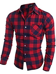 Men's Plaids Casual / Work Shirt,Cotton Long Sleeve Black / Red