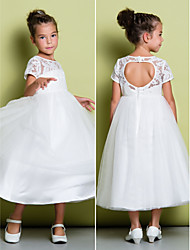 Lanting Bride A-line Tea-length Flower Girl Dress - Lace / Tulle Short Sleeve Jewel with Lace