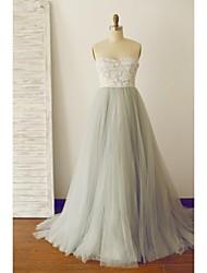 Uma linha strapless varredura / escova trem laço tulle prom formal vestido de noite com rendas