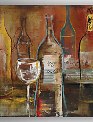 Hand Painted Abstract Wine Bottle and Wine Cup Oil Painting with Stretched Framed Ready to Hang