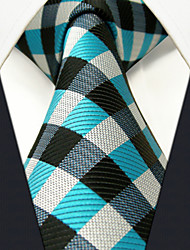 Men's Tie  Checked Laight Blue  100% Silk Business