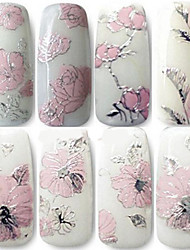 1PCS 3D Nail Decal Stickers Embossed Pink Flower
