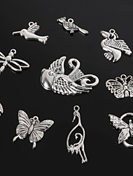Beadia Antique Silver Metal Charm Pendants Dragonfly Butterfly Bird &Crane DIY Jewelry Pendant