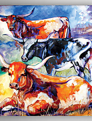 Oil Painting Three Cows  Hand Painted Canvas with Stretched Framed Ready to Hang