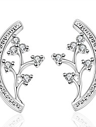 lureme® Elegnt Style Silver Plated Flower Shaped with Zircon Stud Earrings