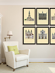 Framed Canvas Art, European Architecture Framed Canvas Print Set of  6