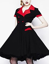 Quior Women's Multi-color Dresses , Vintage Shirt Collar Short Sleeve