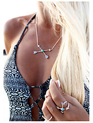 Women's Simple and Fashion Cupid Arrow Turquoise Pendant Necklace