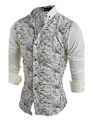 Hot Sale Men cultivating long-sleeved shirt casual shirt printing Cotton / Polyester Casual / Sport Print