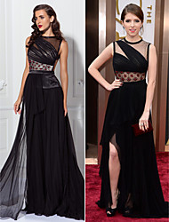 Formal Evening Dress - Black Plus Sizes / Petite Sheath/Column Jewel Asymmetrical Chiffon