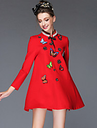 Women Autumn Winter Fashion Vintage Bead Pearl Embroidery Butterfly Bowknot  Loose Luxury Temperament Mini Dress