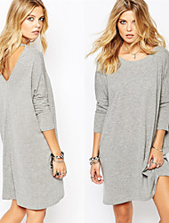 Hot pepper Women's Solid Color Gray Dresses , Casual Round Long Sleeve