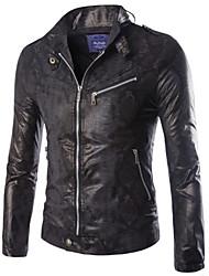 Men's European Style Imitation Snakeskin Leather Motorcycle Jacket , Without Lining