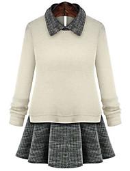 Quior Women's Color Block White Dresses , Casual Shirt Collar Long Sleeve