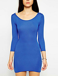 Women's Solid Blue Dress(cotton)