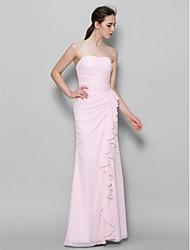 Ankle-length Chiffon Bridesmaid Dress Sheath / Column Sweetheart with Cascading Ruffles