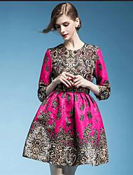 여성의 지퍼 / 꽃패턴 드레스 라운드 넥 ¾ 소매 무릎 위 면혼방