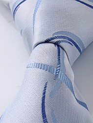Men Silver Blue Jacquard Silk Business Suit Leisure Necktie