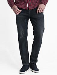 LEEPEN Men's New Winter Dark Color Jeans.