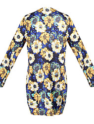 Women's Print Yellow Dresses , Casual Round Long Sleeve