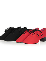 Women's Dance Shoes Belly / Latin / Jazz / Dance Sneakers / Samba Canvas / Synthetic Chunky Heel Black / Red / Other