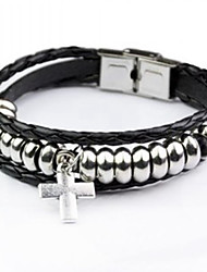 Fashion Men Bracelet Multi-layer Beads Cross Charm Leather Bracelet