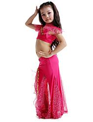 Belly Dance Outfits Children's Performance Milk Fiber Bow(s) 2 Pieces Sleeveless Skirt / TopTop length S:25cm / L:30cm Skirt length