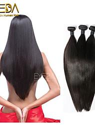 3pcs / lot brazilian seda cabelo virgem reta extensões de cabelo humano natural preto 8 '' - 30 '' cabelo tece
