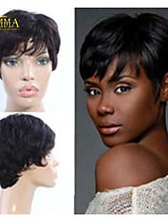 à plus court sans bouchon naturel noir 8 pouces 100% perruques de cheveux humains