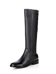 Zapatos de mujer - Tacón Bajo - Punta Redonda / Botas de Equitación - Botas - Vestido / Casual - Cuero - Negro