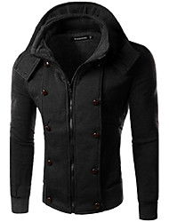 YS Men's Stand Coats & Jackets , Cotton Blend Long Sleeve Casual Pocket Winter