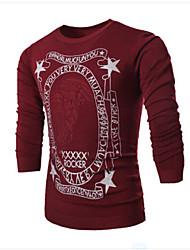 Informell / Bedruckt Rund - Langarm - MEN - Pullover ( Strickware / Polyester )