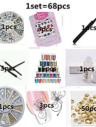 68pcs Nail Jewelry Nail Stickers Nail Tools Nail Set