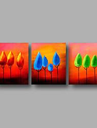 Ручная роспись Абстракция / Цветочные мотивы/ботанический / Абстрактные пейзажиModern 3 панели Холст Hang-роспись маслом For Украшение