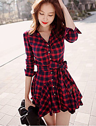 Women's Casual/Daily Dress,Plaid Shirt Collar Above Knee Long Sleeve Red Cotton Fall Micro-elastic Medium