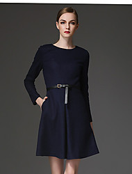 Women's Casual/Daily Dress,Solid Round Neck Above Knee Long Sleeve Blue / Brown / Green Fall