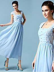 Women's Lace Blue Dresses , Casual Square Sleeveless