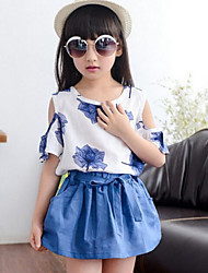 Girl's Floral Clothing Set,Cotton Blend Summer Blue / Green / Red