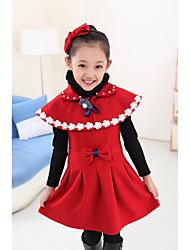 Vestido Chica de - Invierno - Algodón / Malla / Poliéster - Naranja / Rosa / Rojo
