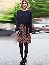 Mulheres Vestido Altura dos Joelhos Manga Longa Decote Redondo Camadas Mulheres