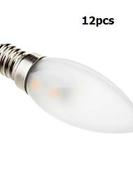 1W E14 LED Kerzen-Glühbirnen C35 7 SMD 5050 70 lm Warmes Weiß Dekorativ AC 220-240 V 12 Stücke