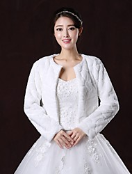 Fur Wraps / Wedding  Wraps / Fur Coats Coats/Jackets Long Sleeve Faux Fur White Wedding / Party/Evening Scoop Open Front